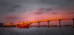 The Bridge of Gold (JDS Fine Art & Fashion Photography) Tags: ocean bridge sunset sea sky urban water colors clouds boat cityscape waterlife