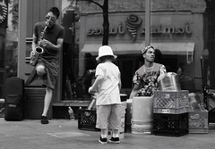 Moonpie Tips a Dollar (Circled Thrice) Tags: blackandwhite bw music monochrome musicians canon drums eos rebel colorado sigma denver co saxophone t3i 16thstreetmall sixteenthstreetmall