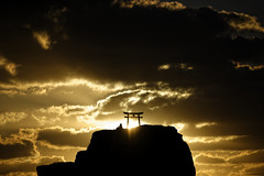 The origins of light ( Ogawasan) Tags: japan japon  sunrise shinto torii clouds rise religion rock sea