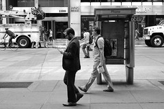 New Yorker on a workday : every minute counts!  #newyork #newyorker #blackandwhite #bnw #monochrome #people #life #streetphotography (thanakrit_big) Tags: uploaded:by=instagram life newyorker m9 summicron streetphotography