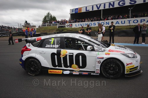 Mat Jackson on the grid during the BTCC Knockhill Weekend 2016