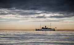 MS Bohusln (mpakarlsson) Tags: ms bohusln steam steamboat boat horizon sky evening calm clouds dark water ocean sea bath colors ship 5dii 5dm2 5dmark2 5dmarkii sweden fjllbacka lngsj crab pot