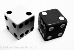 Laws of Opposite Attraction (HMM) (13skies) Tags: happymacromonday macro monday macromonday macroscopic close dice opposite opposites roll rollthedice lucky luck gamble play rolling dough money chance playing bw blackandwhite dots pieces macromondayopposites oppose against