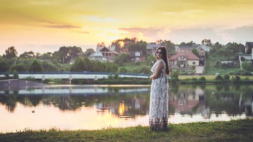 Girl near lake