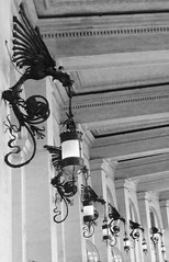 black & white quirinale (4) (canecrabe) Tags: dragon place plazzadellarepubblica gaetanokoch luminaire applique fer ferforg rome