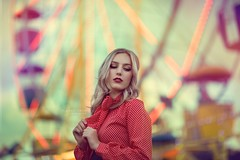 Carnival (Valerie Thompson Photography) Tags: carnival ferriswheel fair parkinglotcarnival lights light beauty beautiful fun blonde model reno renophotographer renoportraitphotographer renonevada retouch creative creativephotography portrait portraitphotographer pose portraits rides ride naturallight 85mm canon shallowdof nevada sky clouds bow polkadot thrifted thriftstorestyle thrift diy cateye makeup pretty cute woman artist valeriethompsonphotography nosering