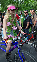 WNBR 2010 London (pg tips2) Tags: beautiful pretty shades she her blonde floraltribute visor peacefulprotest cyclesafety city wnbr2010 bareasyoudare topfree modest girl sfw london 2010 wnbr