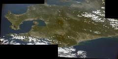 Southern Kyushu (sjrankin) Tags: 1september2016 edited japan nasa iss iss048 iss048e64631 iss048e64633 iss048e64632 kyushu pacificocean kagoshima kagoshimabay volcano sakurajima large 2192mb