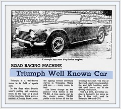 1968 May TR-250 Triumph 6 Cylinder Car,  Road Racing Machine -The Deseret News - May 17, 1968 (carlylehold) Tags: city sports car club triumph kansas british lbc haefner carlylehold robertchaefner
