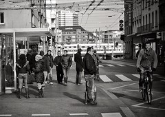 Langstrasse (Thomas8047) Tags: street people blackandwhite bw blancoynegro monochrome photography schweiz switzerland nikon foto swiss strasse zurich streetphotography streetscene sbb zrich onthestreets zri langstrasse sanitas kreis4 migros schwarzundweiss 175528 oleolebar streetpix d300s militrlangstrasse streetartstreetlife snapseed thomas8047 langstrassezrich