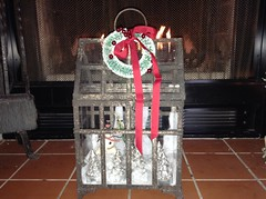Glass Terrarium (Cabinet of Old Secret Loves) Tags: christmas trees red brown art glass stone landscape jack snowman frost dad annabelle ooak country scene wreath greenhouse gift dreams ribbon pastoral faeries whimsical terranium