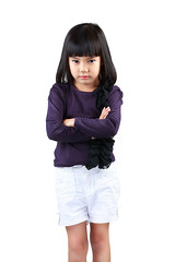 Angry little girl (Patrick Foto ;)) Tags: portrait people white cute girl beautiful beauty face childhood closeup female hair asian thailand person sadness one kid model eyes toddler asia pretty mood child sad looking emotion little head expression background space innocent daughter young adorable pride anger problem thai angry innocence worried conflict expressive concept lovely emotional unhappy isolated upset discontent caucasian discord offended