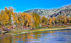 Fall On The Snake River (http://fineartamerica.com/profiles/robert-bales.ht) Tags: blue trees water beautiful yellow wow reflections river spectacular morninglight fallcolors awesome shoreline scenic surreal peaceful bank places panoramic hills idaho snakeriver pacificnorthwest northamerica sensational flyfishing inspirational spiritual sublime magical magnificent inspiring idahofalls haybales rigby jeffersoncounty smoothwater canonshooter scenicbiway riverphotography idahophotography robertbales americaphotography esternidaho
