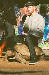Hurry on Down for Luke's Slow-Brewed Coffee (CarbonNYC [in SF!]) Tags: sf sanfrancisco california sculpture man coffee bronze zoo luke tortoise riding bayarea ez cz childrenszoo sfzoo outersunset carbonnyc carbonsf ridingatortoise explorationzone ridingasculpture