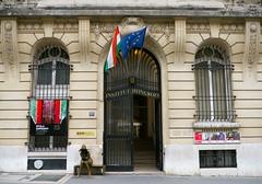 Paris: Institut hongrois. (Marie-Hlne Cingal) Tags: door paris france puerta iron flags porta porte capitale iledefrance tr fer drapeaux