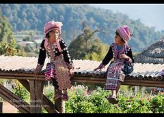 Hmong girls in Mon Jam, Chiang Mai, Thailand (jitenshaman) Tags: travel friends portrait cute girl asian thailand costume asia friendship native thai destination chiangmai tradition tribe miao ethnic hmong indigenous ethnicity headdress hilltribe maesa meo mountainpeople maerim worldlocations monjam kiewsear