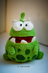 Bellied ancestor Om Nom from Cut The Rope Stone Age (DolphinART) Tags: game cute green monster toy candy handmade character crochet cartoon kawaii amigurumi stoneage omnom cuttherope navyazala