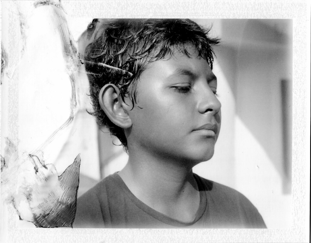Matt blue filter too close for infinity tags portrait blackandwhite bw film polaroid