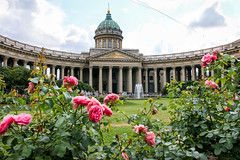 Roses in the garden of Kazan Cathedral, Saint Petersburg, Russia (inchiki tour) Tags: travel building church rose garden photo europe cathedral russia arcade decoration historical column archutecture saintpetersburg russian orthodox  leningrad worldheritage kazan  2014         colonnaded