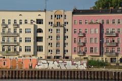 Apartments, Stralauer Allee, Kreuzberg, Berlin (westport 1946) Tags: streetart berlin architecture kreuzberg germany deutschland graffiti apartments balkon urbanart flats architektur balconies wallmural stralauerallee wohnungen spreewaterfront