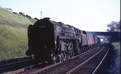 70025 at HEST BANK. May 28th,1966 (Brit 70013 fan) Tags: star pacific bank steam lancashire western lancaster steamengine hest britannia carnforth hestbank britishrailways westcoastmainline 70025