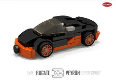 Bugatti Veyron Super Sport (1:48) (lego911) Tags: world auto records car sport vw volkswagen model break lego lets render ss go some super turbo record 88 bugatti coupe supercar challenge holder cad w16 lugnuts 2010 veyron povray faster moc ldd 148 hypercar foitsop lego911 letsgobreaksomerecords