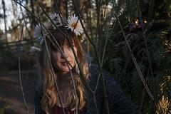 Shy (kjj.photo) Tags: flowers trees sun sunlight fern cute water girl bikepath tattoo forest river path hipster longhair tattoos eugene lensflare ferns autzen tattooed croptop flowercrown
