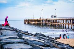Bridge in The Sea (wandercrumbs) Tags: bridge rock beach sea pondicherry puducherry