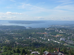 the view from the Holmenkollen ski jump toward Oslofjord (Oren & Shimrit) Tags:       oslo akershus fortress norway viking vikings storting parliament opera house operahuset oslofjord frogner park vigeland sculpture bygdy peninsula museum holmenkollen ski jump jernbanetorget square rdhus city hall nobel peace prize barcode project the scream edvard munch madonna norsk folkemuseum norwegian cultural history gol stave church center kontiki fram thor heyerdahl vikingskiphuset ship oseberg national gallerycomfort hotel grand central
