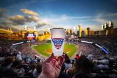 Beer and baseball (Notkalvin) Tags: park people sports beer sport dof hand baseball outdoor crowd detroit arena tigers mlb beerglass comericapark detroittigers shallowdepthoffield majorleague beercup mikekline notkalvin notkalvinphotography