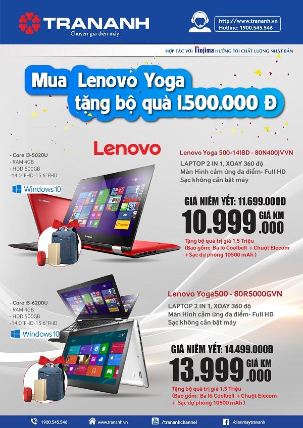 Mua Laptop YOGA 2 in 1 – Ring ngay quà khủng