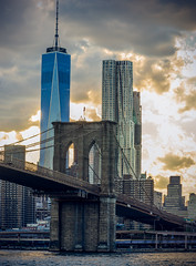 Bridge Sunset (si_glogiewicz) Tags: new york city manhattan brooklyn bridge sunset sky skyline clouds dusk america cityscape