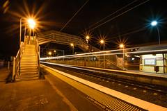 Alderley Station, Brisbane (stephenk1977) Tags: bridge light station night train wooden nikon footbridge trails rail railway australia brisbane qld queensland upgrade qr accessibility alderley d3300