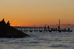 Sunset fishing (jimbyrden) Tags: broadwater wa western australia beach sea sunset night orange black fish fishing jetty silhouette silhouettes water sport nightfall boat ramp