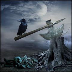 Gallows (jaci XIII) Tags: patbulo cepo tronco ave corvo machado execuo ossos esqueleto crnio gallows stump trunk ax raven bird skull bones skeleton execution