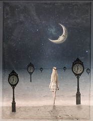 Somewhere in Time (Cat Girl 007) Tags: beach clock conceptual deadline digitalart dreamy enchanted fantasy female girl lunar magical makebelieve modelbymariaamandad6vqpoc moon peaceful photomanipulation photomontage revere reverebeach starry time timepiece verticalimage