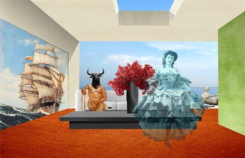 La gran galerista Minnie Taura, en el salón principal de su yate.