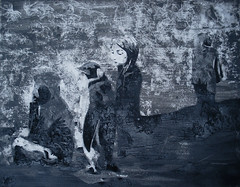 Picknick mit W, ohne Z (Christian Haupt) Tags: stencil serigrafie sprayart art acryl painting malerei monochrome kunst