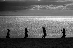 Yoga At The Beach (JimLaderoute) Tags: newhampshire plumisland yoga silhouette ocean beach sand clouds