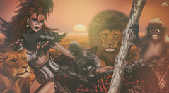 Gin~She's Safari... (Skip Staheli (Clientlist closed)) Tags: skipstaheli secondlife sl avatar virtualworld safari wildlife lion ape monkey fantasy fashion dreamy digitalpainting ginrayna