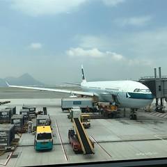 A330-300名古屋→香港なかなか快適なフライトでした!✈️今回は名古屋で偶然いとうまい子さんやxexの宇佐美さんと飲み会ができました!それにしても香港暑いなー #いとうまい子  #xex  #キャセイパシフィック  #香港