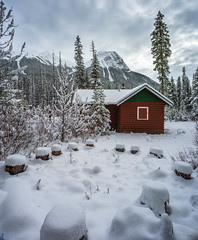 Closed for Winter, Jasper NP, Alberta (WherezJeff) Tags: alberta canada japser myjasper nationalpark weatherandseasons autumn cabin mountains red snow jasper ca colin range firepit overcast log rustic scenic fresh remote tranquility travel silence