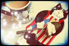 A Nice Cup Of Tea With The Cats (sarahellenspringer) Tags: kitty cat chef tea treatment caturday stripes cup mug whimsical