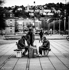 Chess in the City (Joe M. Photography) Tags: photography photographyeveryday igshutterbugs photographer photo photos pic pictures photoart streetphotography art streetlife instaphotography black igersbnw bwoftheday noiretblanc noirlovers bwbeauty white blancinegre monochrome citylife city urban lifestyle stuttgart chess