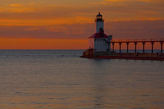 Michigan City Indiana Lighthouse and Pier at Sunset 9-20-2016 8882 (www.cemillerphotography.com) Tags: washingtonpark gambling sundown dusk recreation evening midwest
