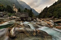 Lavertezzo (yves_matiegka) Tags: verzasca river lavertezzo ticino tessin switzerland schweiz mountains forest rocks longexposure travel autumn clouds church nature