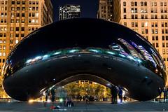 Chicago Millennium Park Bean (brian_barney9021) Tags: super heroes bean chicago millennium park chrome night long exposure trails dark nikon d3200 skyscraper skyline cityscape landscape 35mm