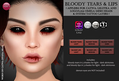 Bloody Tears & Lips (Halloween Limited Time Gift) (Izzie Button (Izzie's)) Tags: blood halloween gift sl applier catwa omega logo laq lelutka