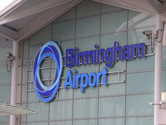 Birmingham Airport ('International' is dropped) (stevenbrandist) Tags: uk blue england sign airport birmingham cctv security midlands bhx