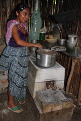 A villager cooking at home